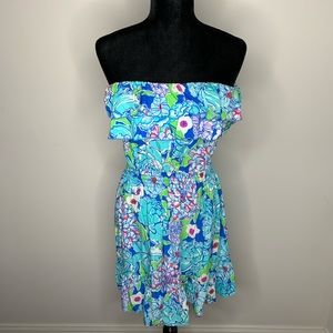 Lilly Pulitzer Quincy Strapless Ruffle Dress Small